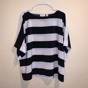 New Chico's black & white striped blouse dolman